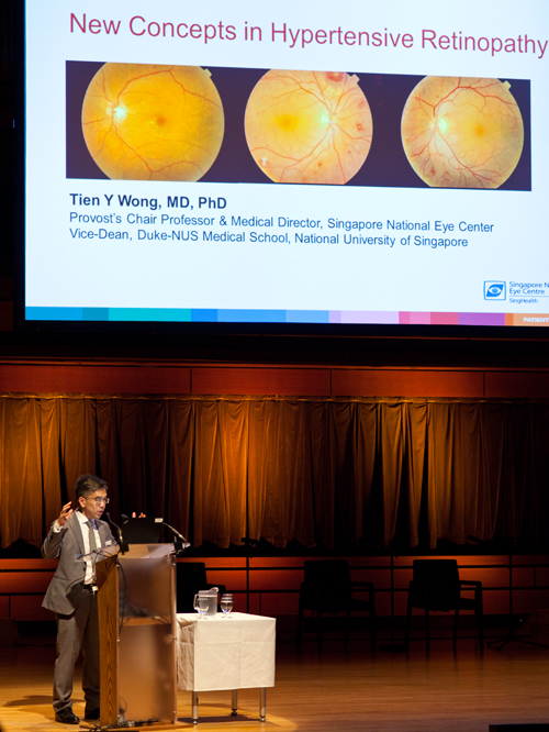 Visiting professor Dr Tien Wong presenting at the department's annual symposium